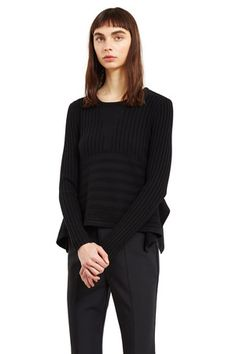 Linear Long-Sleeve Delta Top in Black   Opening Ceremony.  Stylish casual minimalist outfit   Little Black dress   Minimalist casual wear   Capsule wardrobe   Slow fashion   Simple style   Minimalist style   Stylish business casual   Scandinavian casual wear