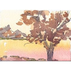 Original Watercolor Ink ACEO Landscape Tree Hills Art Trading Card... ($13) ❤ liked on Polyvore featuring home, home decor, wall art, watercolor trees, tree home decor, tree wall art, landscape trees and water color tree