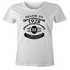88th Birthday Gift T-Shirt - Made In 1928 - Aged 88 Years To Perfection Short Sleeve Womens T Shirt
