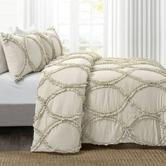 Coral Bedding Sets, Comforter Sets, Farmhouse Style Bedrooms, Ribbon Embroidery, Neutral Colors, Pillow Shams, 1 Piece, Comforters, Shabby Chic