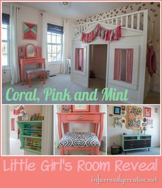 DIY Girl's Room // Girl's Coral, Pink and Mint Room Reveal on InfarrantlyCreative.net
