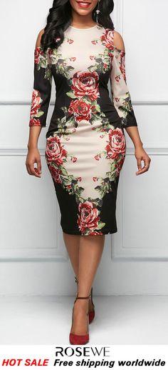 1c4782334060 Three Quarter Sleeve Cold Shoulder Flower Print Dress. rosewe dress, fall  dress
