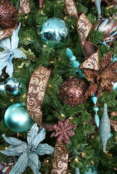 Tiffany Blue & Chocolate Brown Christmas decorations