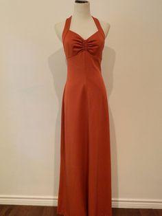 70s vintage RUSTY brick halter Maxi dress