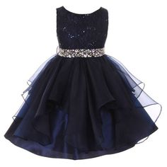 Beautiful and elegant flower girl dress from My Best Kids will surely make an impact at the festive events she attends. The top part of the dress is designed with stretch lace and decorated with sequins. The belt around the waistline is dettachable and de