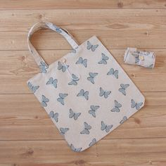 Shopping tote /book bag in blue butterfly print cotton Butterfly Print, Blue Butterfly, Leaf Prints, Dance Outfits, Make And Sell, Printed Cotton, Cotton Canvas, Annie, Printing On Fabric