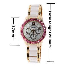 FW830V New White Dial Women Kerámia Vízálló Rose Crystal karkötő Watch
