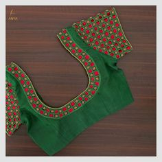 Crafted with cut work and beads, this blouse has an amazing colour and a traditional cut. DM us for more details. Kerala Saree Blouse Designs, Cutwork Blouse Designs, Patch Work Blouse Designs, Hand Work Blouse Design, Best Blouse Designs, Simple Blouse Designs, Stylish Blouse Design, Blouse Neck Designs, Sari Blouse