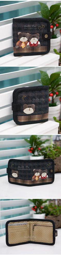 [곰 두마리 ★반지갑★ (패턴)] Detail, Handmade, Bags, Handbags, Hand Made, Bag, Totes, Handarbeit, Hand Bags