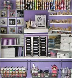 craft room and supply storage (this is like my room color.(i took my closet and put 5 shelves in it and put my trinkets on to display them!) sort of like this). its cool.