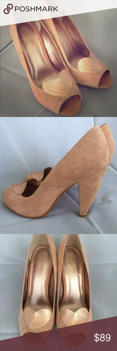a05a28c69b776c NWOT Rose Gold Heart Peep Toe Heels by Seychelles Brand new never worn rose  gold suede