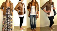 how to wear brown leather jacket | Here are just a few ways I've styled my friend's leather jacket.