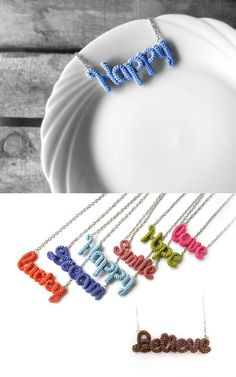 happy #inspirational #charm #blue #word #necklace #gift #handmade