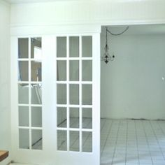 Vintage French Doors as Dividers. Use vintage french doors as stationary room dividers! It's a part of an entire house rehab called the Oak House Project. Sliding French Doors, Glass French Doors, French Doors Patio, French Patio, Double Doors, Door Dividers, Room Divider Doors, Contemporary Interior Doors, Interior Barn Doors