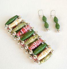 bracelet and earrings paper bead jewelry set