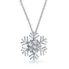 Bling Jewelry Let It Snow ($27) ❤ liked on Polyvore featuring jewelry, necklaces, clear, necklaces pendants, pendant-necklaces, snowflake jewelry, snowflake pendant necklace, clear crystal jewelry, clear jewelry and clear pendant