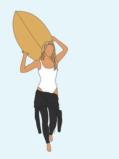 Mixed media Artist, Oona Pritchard captures simple beauty in each one of her illustrations. Surfboard Painting, Surfboard Art, Surfboard Drawing, Surfing Painting, Surf Drawing, Surf Tattoo, Beach Aesthetic, Aesthetic Drawing, Surf Art