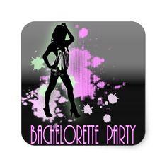 Hen Party Mrs Bride silhouette Bachelorette Party Square Sticker 40c605449a62