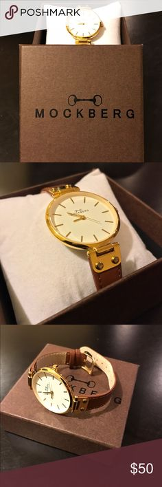 """Mockberg """"Nora"""" Watch Swedish ladies watch """"Nora"""" from Mockberg. Gold inlay, tan finished leather adjustable strap. Used only a few times on casual brunch outings Mockberg Accessories Watches"""