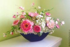 Мятно-розовая дымка - мятный,розовый,розы,розы из полимерной глины,гортензия