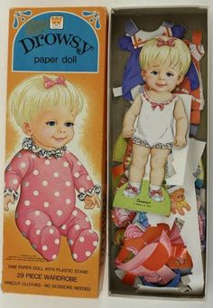 Vintage Toy Whitman 4397 7408 Drowsy Paper Doll Plastic Stand Precut Clothing | eBay