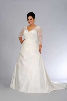 #sv1622 Plus Size 34 sleeve wedding gown