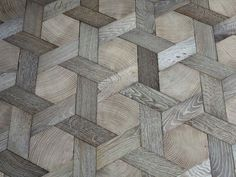 Atelier des Grange basket-weave wood floor - end-grain hexagons set in bleached solid oak cross pieces, finished with oil and wax - http://www.homedecoratings.net/atelier-des-grange-basket-weave-wood-floor-end-grain-hexagons-set-in-bleached-solid-oak-cross-pieces-finished-with-oil-and-wax