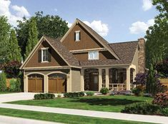 A covered porch, and beautiful exterior finishes creates a welcoming home.  Craftsman House Plan # 161258.