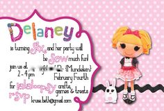 She prints them for you so you wouldn't have to deal with printing them like the other invites - lalaloopsy invite by bethkruse23 on Etsy, $1.50
