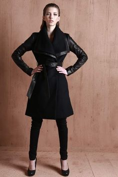 Anveglosa's wool and leather coat is perfect for this fall. #TheHiveShowroom #Anveglosa #Fall2013