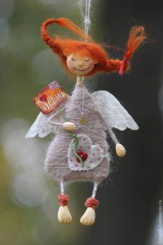 I love Pippi Christmas Angels, Christmas Crafts, Christmas Decorations, Christmas Ornaments, Birthday Decorations, Handmade Angels, Handmade Toys, Felt Angel, Felt Fairy