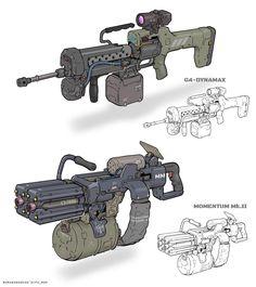More fun guns from commissioned work. Robot Concept Art, Armor Concept, Weapon Concept Art, Sci Fi Weapons, Fantasy Weapons, Weapons Guns, Futuristic Armour, Futuristic Art, Mode Cyberpunk