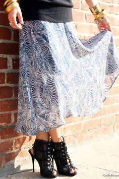 Stylish Blue and White Long Skirt by CarouselsAndLace on Etsy, $29.99