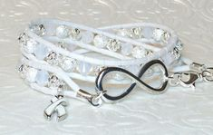 Lung Cancer Awareness Double Wrap Bracelet White by DesignsByJen1