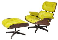 Charles and Ray Eames 670 & 671 : 670 Lounge Chair and 671 Ottoman. Herman Miller. Rare special order color- Chartreuse. Rosewood, enameled aluminum, rubber. 33.75 w x 34.75d x 32.5h ottoman 26.5w x 21.5w x 16.5h