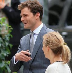 Jamie and Sam (director) on set in Vancouver for scene reshoots 10/13/2014 http://www.pinterest.com/lilyslibrary/