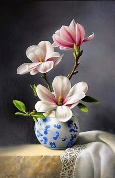 Flowers Discover Magnolia by Pieter Wagemans Magnolias Painting - Magnolia by Pieter Wagemans Oil Painting Flowers, Watercolor Flowers, Oil Painting Abstract, Watercolor Paintings, Flower Paintings, Painting Trees, Painting Wallpaper, Deco Floral, Motif Floral