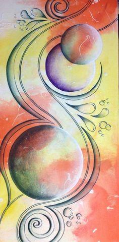 Original Painting by Reina Cottier www.facebook.com/reinacottierart Circle Art, Arte Pop, Art Graphique, Original Paintings, Canvas Paintings, Art Techniques, Art Journals, Mixed Media Art, Painting Inspiration