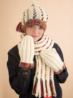 Free Weave a Little Color Scarf Set Knit Pattern -- Download this free hat and scarf knitting pattern from FreePatterns.com. Free Knitting, Baby Knitting, Knitting Patterns, Crochet Scarves, Knit Crochet, Crochet Hats, Knit Mittens, Knitted Hats, Super Bulky Yarn