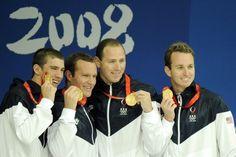 Michael Phelps, Brendan Hansen, Jason Lezak, and Aaron Peirsol