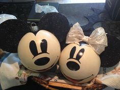 "Mickey Mouse ornaments with a ""vintage"" look.  Disney ornaments."