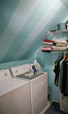 A Floor-to-Ceiling Guide to Spring Cleaning  Stripes on slanted ceiling. Bright colors in laundry room.