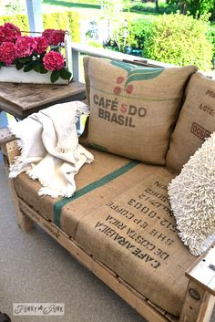 Pallet wood patio chair build - part 2 - Funky Junk Interiors : Pallet wood outdoor chair via Funky Junk Interiors Funky Junk Interiors, Outdoor Furniture Plans, Pallet Furniture, Playhouse Furniture, Pallet Playhouse, Furniture Vintage, Handmade Furniture, Furniture Ideas, Furniture Design