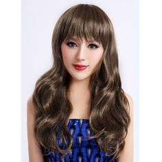 Long Curly Wavy Brown Synthetic Heat-resistant Fiber Flat Bang Wig