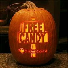 Free candy/ carved pumpkin