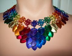 Necklace, pride jewelry, scalemail choker.  Chakra, rainbow, glbt, gay, lesbian, faery, elven, gypsy, tribal, bellydance, fae. $40.00, via Etsy.