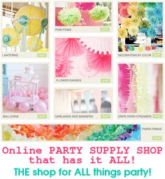 Online party supply shop that has it ALL! SO many cute ideas & products!
