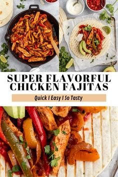 This is seriously the BEST Chicken Fajitas recipe! It's quick, easy and SOOOO flavorful. These chicken fajitas are made with a simple, yet tasty marinade, plenty of colorful peppers and onions, all sautéed in a skillet until caramelized and golden brown. A restaurant style meal that is super easy to make at home and always gets rave reviews!