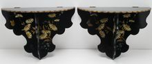 Pair Victorian Paper Mache' Shelves/Hand Painted from Vintage House Antiques on Ruby Lane