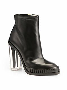 Maison Martin Margiela Leather Plexi-Heel Ankle Boots